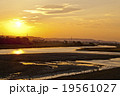 多摩川 日の入り 夕方の写真 19561027
