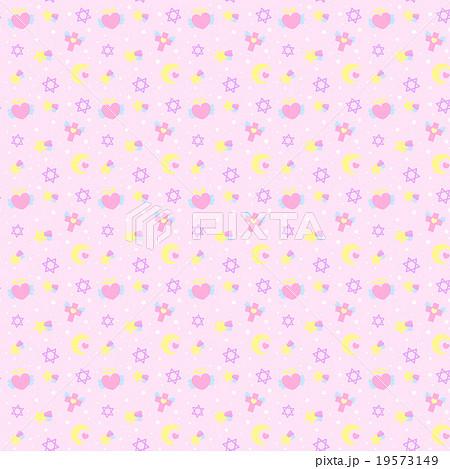 ファンシーでゆめかわいいシームレス(連続)模様パターン素材 ピンク系 壁紙・背景素材