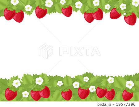 苺 いちご 花 葉っぱのイラスト コピースペース フレーム 横 背景透過png 春素材のイラスト素材