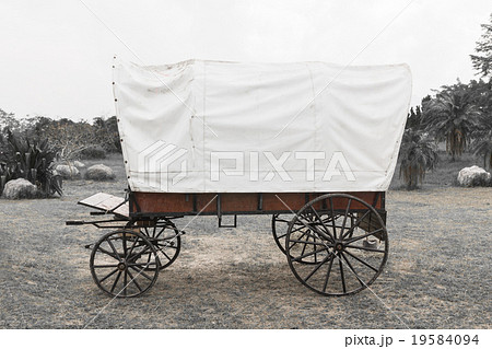 Black & White Covered wagonの写真素材 [19584094] - PIXTA