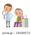 治療後に患者へ鏡を見せる歯科医 19589575