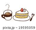 ケーキ ショートケーキ コーヒーのイラスト 19595059