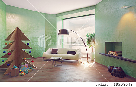 interior with plywood Christmas treeのイラスト素材 [19598648] - PIXTA