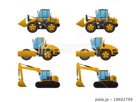 工事現場で働く車3点、ブルドーザー・ロードローラー・ショベルカー、アウトライン有・無 19602799