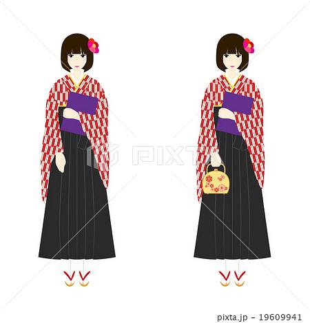 イラスト素材袴姿の女性 卒業式 赤い矢絣の着物 黒い袴 草履のイラスト