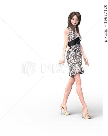 花柄のドレスを着た可愛い女の子perming3dcgイラスト素材のイラスト素材
