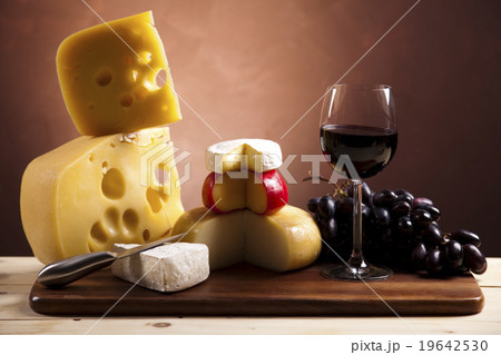 Still-life with cheese and wineの写真素材 [19642530] - PIXTA