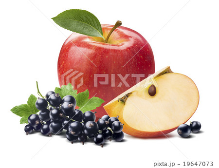 Red apple black currant isolated white background 19647073