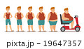 Fat man cartoon style different stages vector 19647357