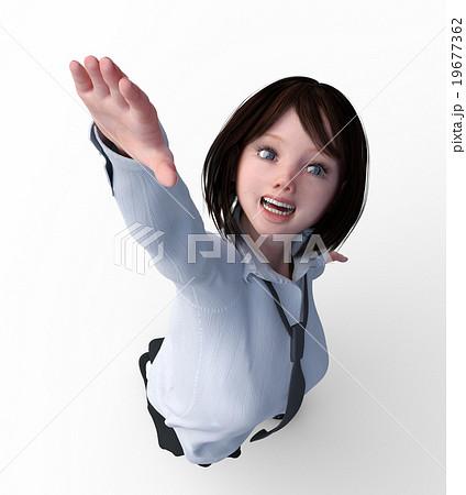 手を伸ばす女子学生 俯瞰 Perming 3dcgイラスト素材のイラスト素材