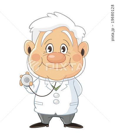 聴診器を持つ医者 医師 ドクターのコミカルでかわいい人物イラスト いわたまさよしのイラスト素材