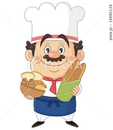 パンを持つパン屋ブーランジェのコミカルでかわいい人物イラスト