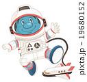 宇宙服姿の宇宙飛行士のコミカルでかわいい人物イラスト | いわたまさよし 19680152