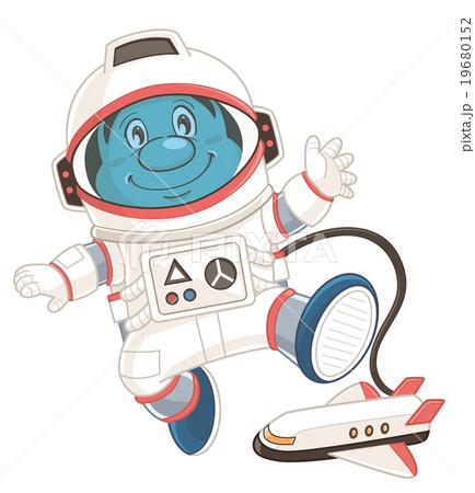 宇宙服姿の宇宙飛行士のコミカルでかわいい人物イラスト いわた