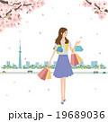 春 桜 女性 ショッピング イラスト 19689036