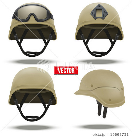 set of military tactical helmets desert color のイラスト素材