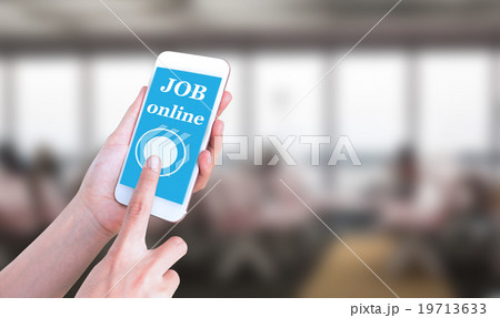 Mobile touch screen phone with text Job onlineの写真素材 [19713633] - PIXTA