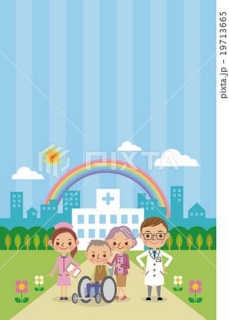 医療スタッフと老人の地域医療イメージ(背景ありテンプレート) 19713665