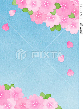 綺麗かわいい桜のイラスト素材コピースペース縦長 お花見春素材
