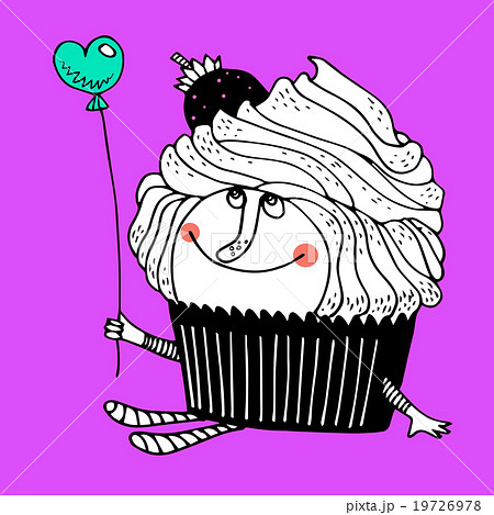 Nice comic cartoon character of cupcake 19726978