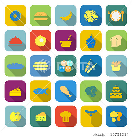 Food color icons with long shadow 19731214