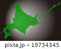北海道地図  ドット グリーン 背景 カーボン 19734345