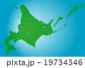 北海道地図  ドット  グリーン 背景 ブルー 19734346
