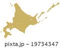 北海道地図  ドット  ゴールド 19734347