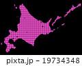 北海道地図  ドット  ピンク 背景 ブラック 19734348