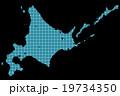 北海道地図  ドット  ブルー 背景 ブラック 19734350