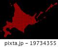 北海道地図  ドット  レッド 背景 ブラック 19734355