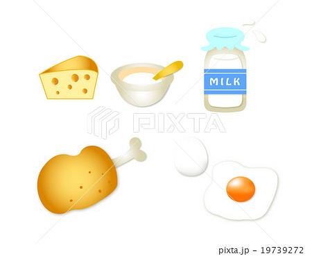 たんぱく質 カット イラスト かわいい 素材 チーズ 牛乳 卵 肉 19739272