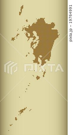 九州地図  ドット  ゴールド 背景 プラチナ 19764991