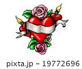 Heart with ribbon surrounded by roses 19772696