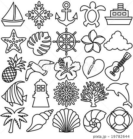 夏 アイコン 線イラストのイラスト素材 19782644 Pixta