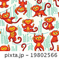 Seamless pattern with red monkeys 19802566