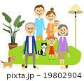 くつろぐ三世代家族 19802904
