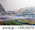郡上八幡の吉田川のスケッチ画 19818978