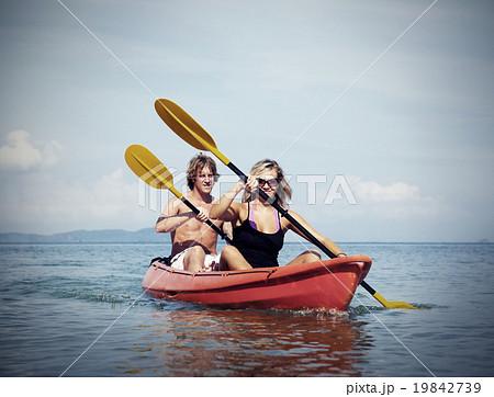 Kayaking Adventure Happiness Recreational Pursuit Couple Concept 19842739