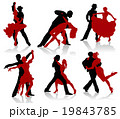 Silhouettes of the pairs dancing ballroom dances.  19843785