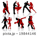 Silhouettes of the pairs dancing ballroom dances. 19844146