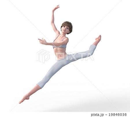 ダンスする若い女性 perming3DCGイラスト素材 19846036