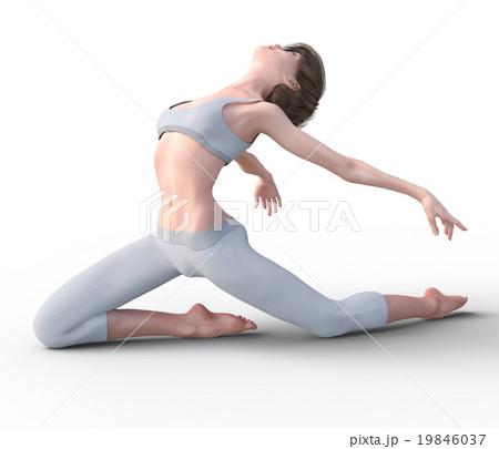 ダンスする若い女性 perming3DCGイラスト素材 19846037