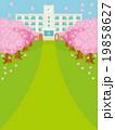 桜並木と春の校舎バリエーション縦C 19858627