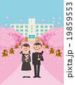 桜並木と春の校舎を背景に卒業する男女学生_セーラー服と学ラン 19859553