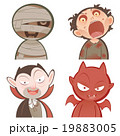 Cute cartoon halloween characters icon set 19883005
