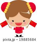 国旗を持つ中国女の子 19885684