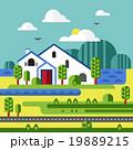 Flat Design Vector of Farm Landscape 19889215