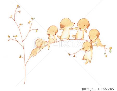 Puppies 木登りのイラスト素材 19902765 Pixta