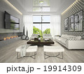 Interior of living room with tree posters 3D rendering 19914309